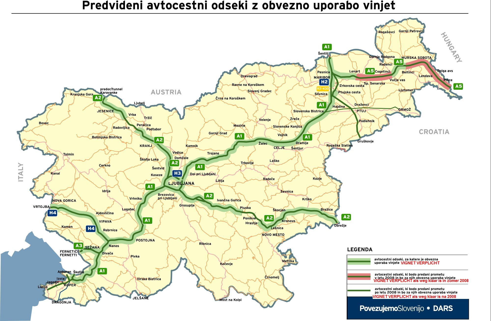 Kaart waar Sloveens vignet verplicht is